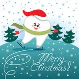 Leuke tand die op ijs schaatsen Vrolijke Kerstmis van tandheelkunde stock illustratie