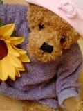 Leuke teddy met zonnebloem royalty-vrije stock afbeeldingen