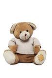 Leuke Teddybeer die over wit wordt geïsoleerd stock foto