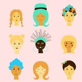 Leuke tekening van de gezichten van cartoomvrouwen De in karakters, Kunst kunnen voor gelukwensen op de dag van vrouwen worden ge stock illustratie