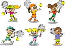 Leuke tennisJonge geitjes Stock Afbeeldingen
