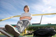 Leuke Tiener op Bleachers Royalty-vrije Stock Foto