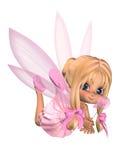 Leuke Toon Ballerina Fairy in Roze dat - lounging Stock Afbeeldingen