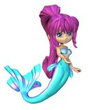 Leuke Toon Bright Blue Mermaid Royalty-vrije Stock Afbeeldingen