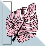 Leuke tropische het bladachtergrond van Memphis, illustratie in vectorfo Royalty-vrije Stock Afbeelding