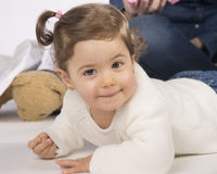 Leuke twee éénjarigenbaby Stock Foto