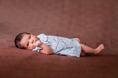 Leuke twee weken het oude pasgeboren babymeisje liggen Royalty-vrije Stock Afbeeldingen