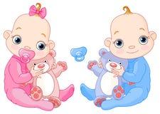 Leuke tweelingen met speelgoed royalty-vrije illustratie