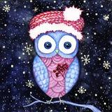 Leuke uil in de van santashoed en Kerstmis nacht van de hulstwinter Waterverf en het digitale schilderen Stock Foto