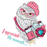 Leuke uil met een camera Uilvector Prentbriefkaar met een uil hipster Stock Afbeeldingen