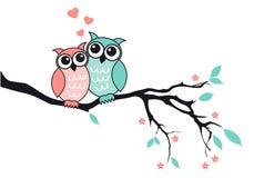 Leuke uilen in liefde, vector Royalty-vrije Stock Afbeeldingen