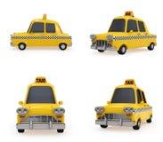 Leuke Uitstekende Gele Taxi op witte achtergrond Stock Foto