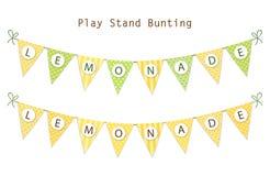 Leuke uitstekende textiel groene en gele sjofele elegante bunting vlaggen voor de zomerfestivallen, verjaardag, babydouche stock illustratie