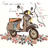Leuke valse hand getrokken fiets met bos van de lentebloemen valentin stock illustratie