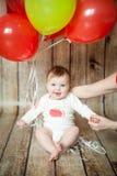 Leuke 6 van het babymaanden meisje Stock Afbeelding