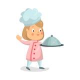 Leuke van het de chef-kokkarakter van het beeldverhaalmeisje van de de holdingsglazen kap de schotelillustratie stock illustratie