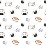 Leuke van het het voedsel naadloze patroon van beeldverhaalsushi Japanse illustratie als achtergrond royalty-vrije illustratie