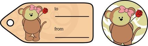 Leuke van het meisjeskawaii van de babyaap van de het beeldverhaalvalentijnskaart de giftkaart royalty-vrije stock foto's