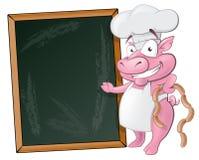 Leuke Varkenschef-kok Character met Schoolbord Stock Foto