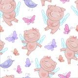 Leuke varkensengelen in beeldverhaalstijl Grappige die Valentijnskaartendag in vector wordt geplaatst stock illustratie