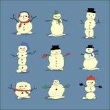 Leuke vastgestelde sneeuwmannen Stock Foto