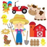 Leuke vector het beeldverhaalillustratie van het landbouwersmeisje Vector het beeldverhaalillustratie van landbouwbedrijfdieren stock afbeeldingen