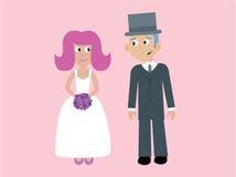 Leuke vectorbruid & bruidegom vector illustratie