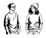 Leuke vectorillustratie van jongeren in modieuze hipsterkleren Stock Afbeeldingen