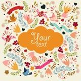 Leuke vectorkaart met oranje etiket Royalty-vrije Stock Foto's