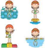Leuke vectorzwemmersmeisjes in verschillende sportsituaties Stock Foto's