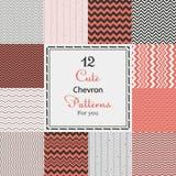 12 leuke verschillende chevron vector naadloze patronen (het betegelen). Royalty-vrije Stock Afbeelding