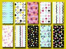 10 leuke verschillende naadloze patronen Golvende lijnen, vierkanten, swirles, cirkels, driehoeken en sterren De eindeloze textuu royalty-vrije illustratie