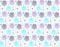 Leuke violette, blauwe en grijze uilen met sterren op de achtergrond Stock Fotografie