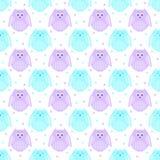 Leuke violette en blauwe uilen met sterren op de achtergrond Stock Afbeelding