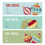 Leuke vlakke de etiketteninzameling van ontwerpkerstmis met Kerstmisbal stock illustratie