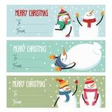 Leuke vlakke de etiketteninzameling van ontwerpkerstmis met sneeuwman isolat royalty-vrije illustratie