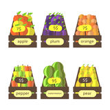 Leuke vlakke stijl houten dozen met vruchten en groenten Royalty-vrije Stock Fotografie