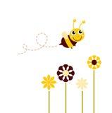 Leuke vliegende Bij met bloemen Stock Afbeelding