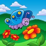 Leuke vlinder dichtbij rode bloemen royalty-vrije illustratie
