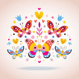 Leuke vlinders vectorillustratie Stock Afbeeldingen