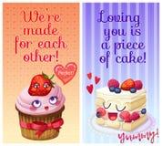 Leuke voedselkarakters met grappige flirty citaten Wij worden gemaakt voor elkaar en Houdend van bent u een stuk cake zoete woord royalty-vrije illustratie