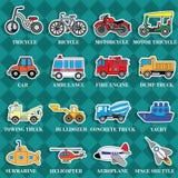 Leuke voertuigtypes in stickerstijl op vierkante grafisch royalty-vrije illustratie