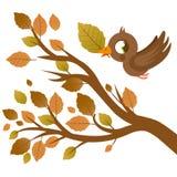 Leuke vogel in de Herfst het vliegen en boomtak met droge bladeren royalty-vrije illustratie