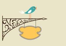 Leuke vogel en antiek uithangbord Stock Afbeeldingen