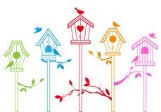 Leuke vogelhuizen, vector Stock Afbeeldingen