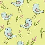 Leuke vogels met bloemen naadloze achtergrond royalty-vrije illustratie