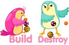 Leuke vogels met tegenovergestelde woorden Stock Afbeeldingen