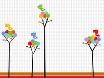 Leuke vogels op de bomen van kleurenpunten Stock Fotografie
