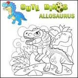 Leuke voorhistorische dinosaurus Allosaurus, grappige illustratie vector illustratie