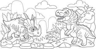 Leuke voorhistorische dinosaurussen, kleurend boek, grappige illustratie stock illustratie